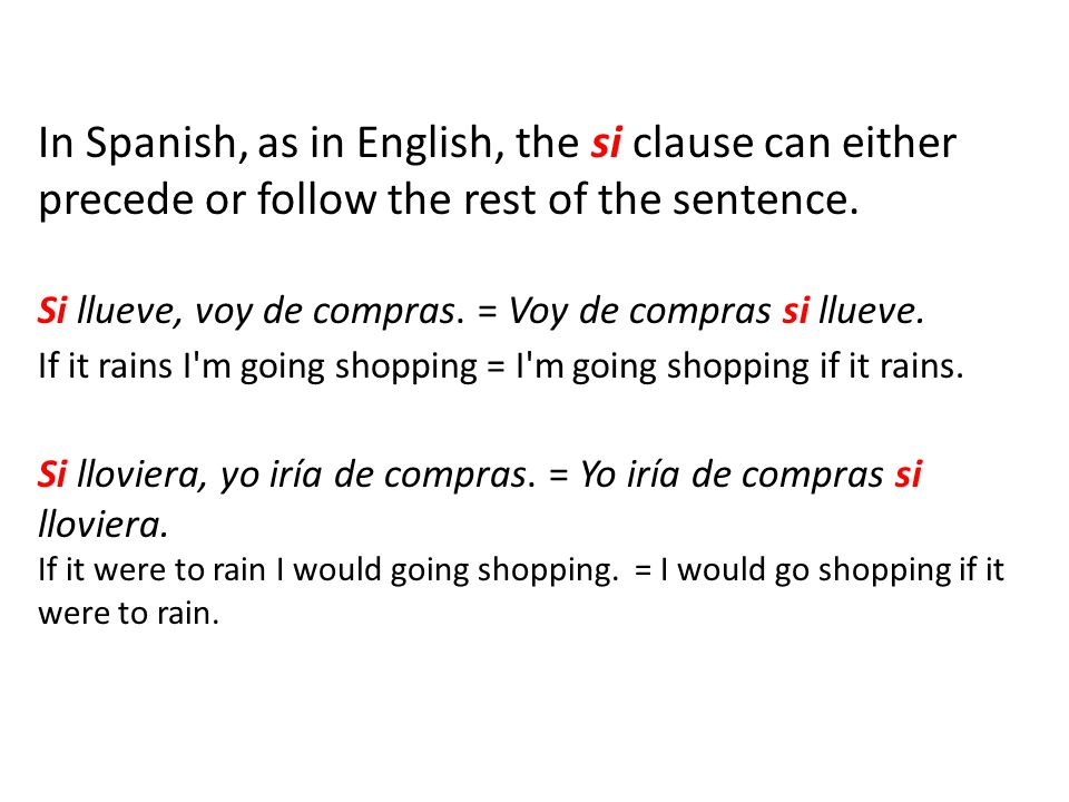 In Spanish, as in English, the si clause can either precede or follow the rest of the sentence.