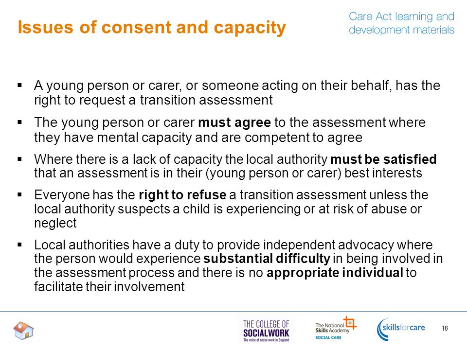 Issues of consent and capacity