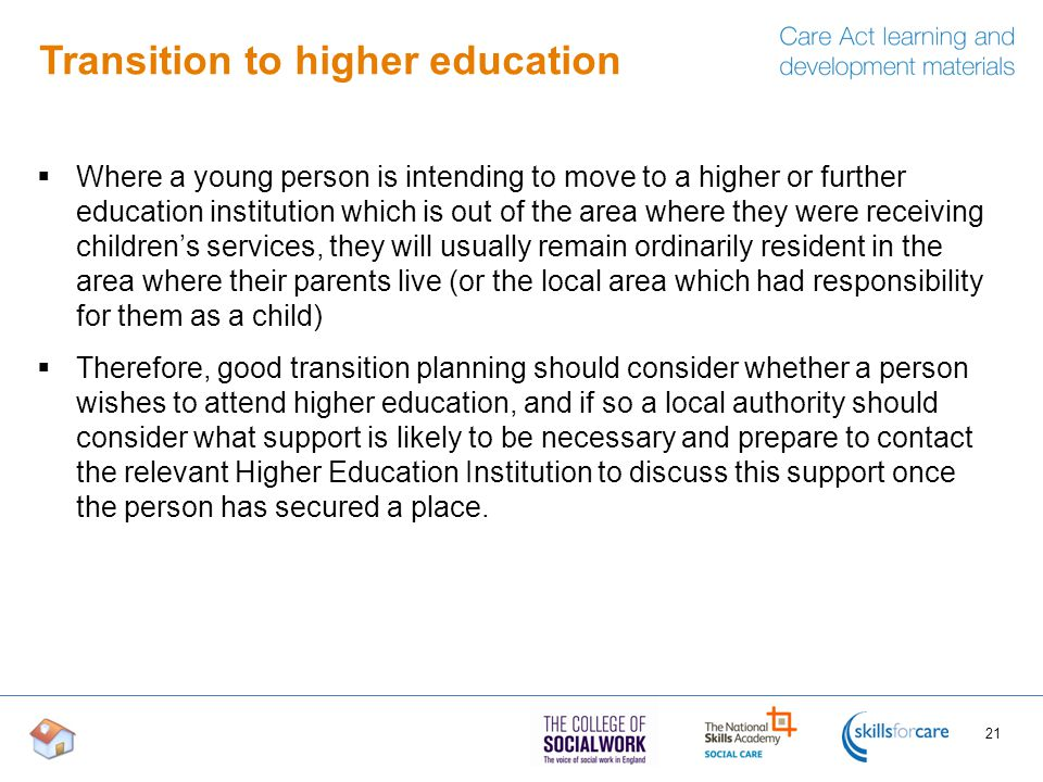 Transition to higher education