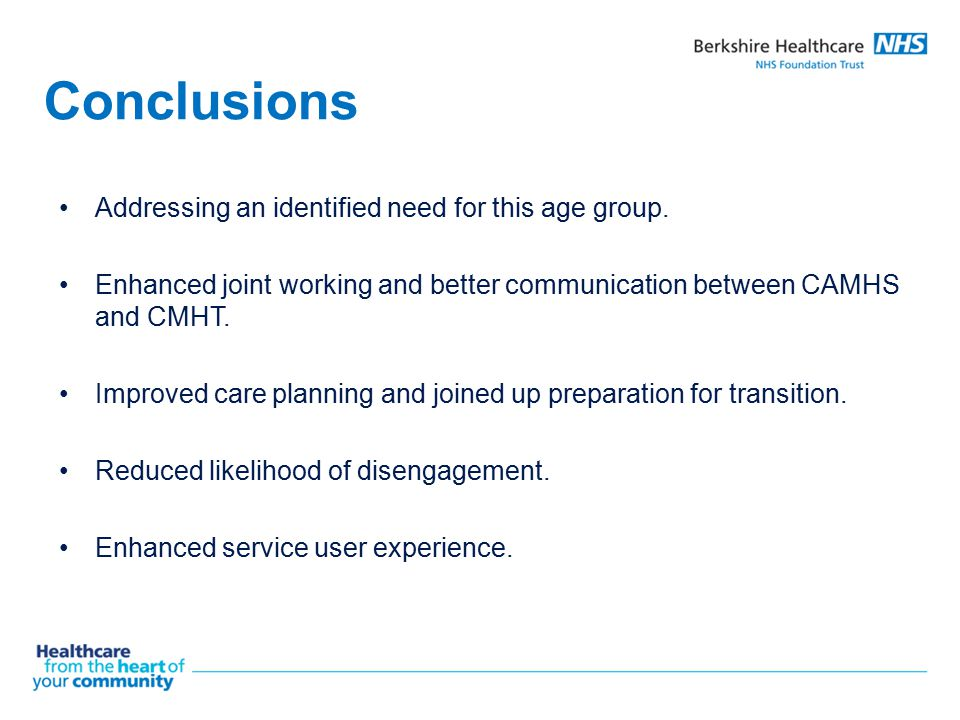 Conclusions Addressing an identified need for this age group.