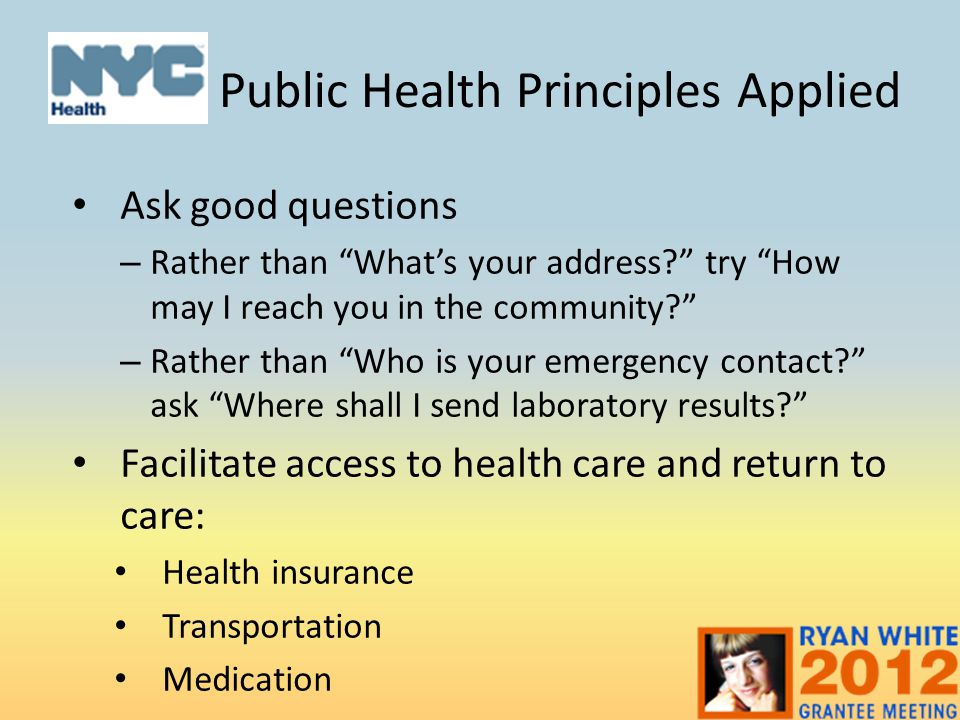 Public Health Principles Applied