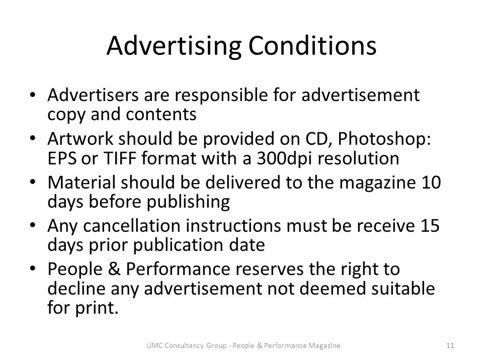 Advertising Conditions