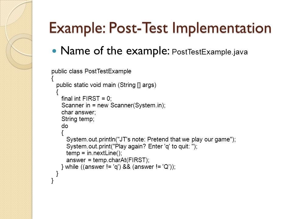 Example: Post-Test Implementation