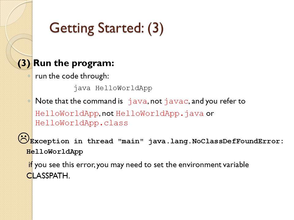 Getting Started: (3) (3) Run the program: run the code through: