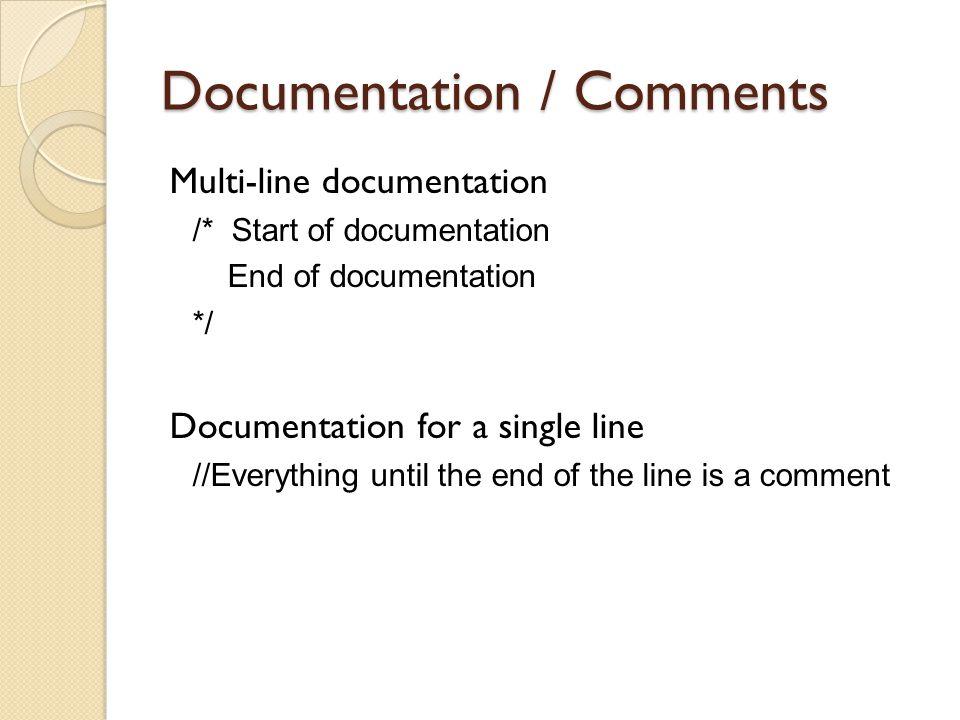 Documentation / Comments