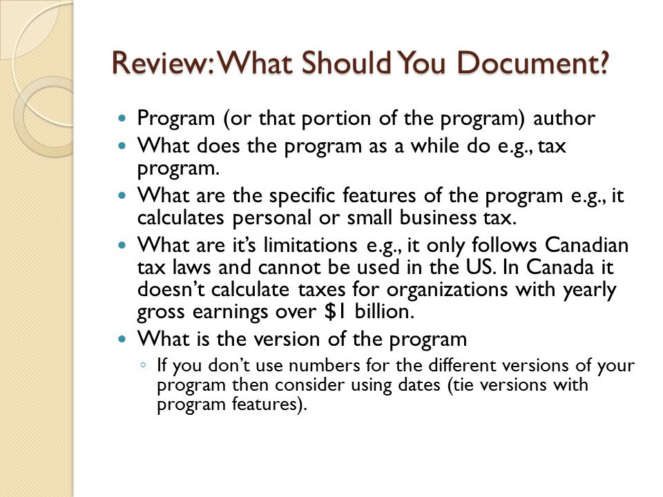Review: What Should You Document
