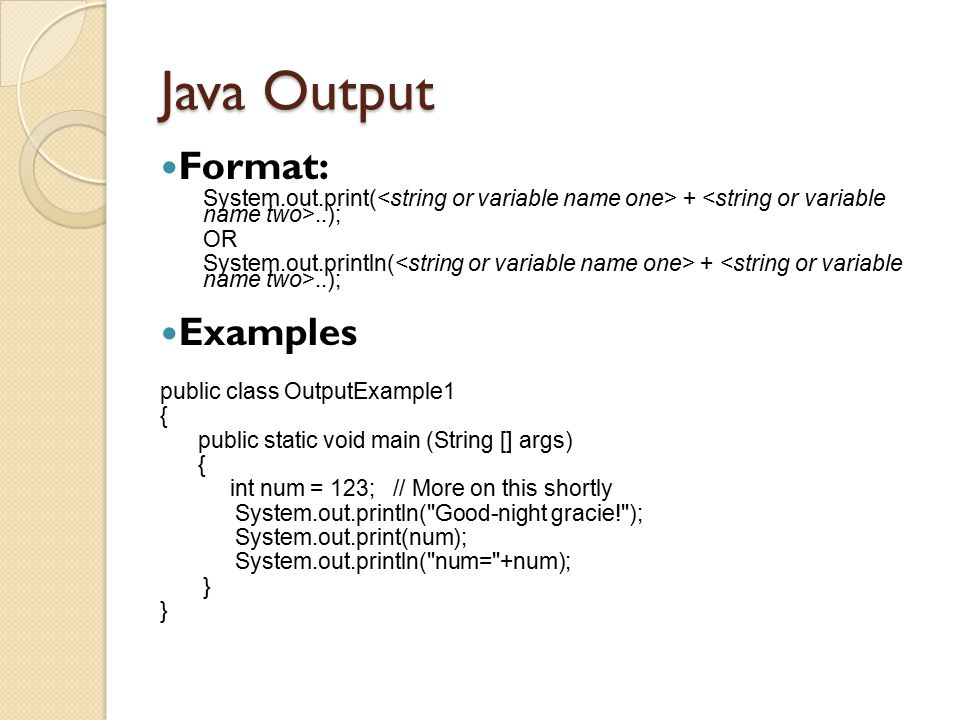 Java Output Format: Examples