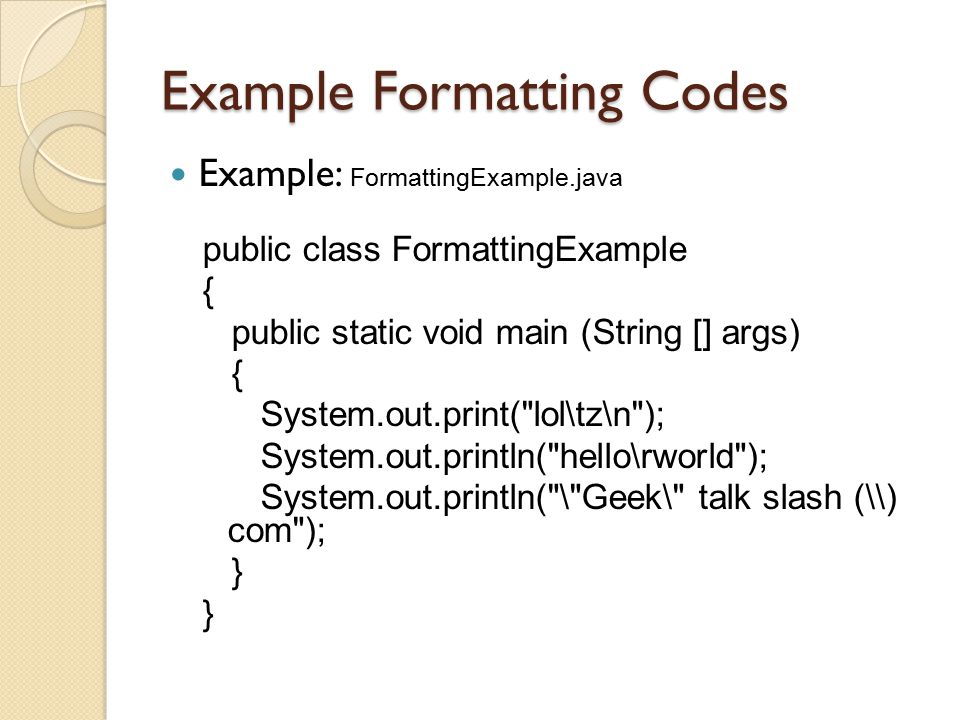 Example Formatting Codes