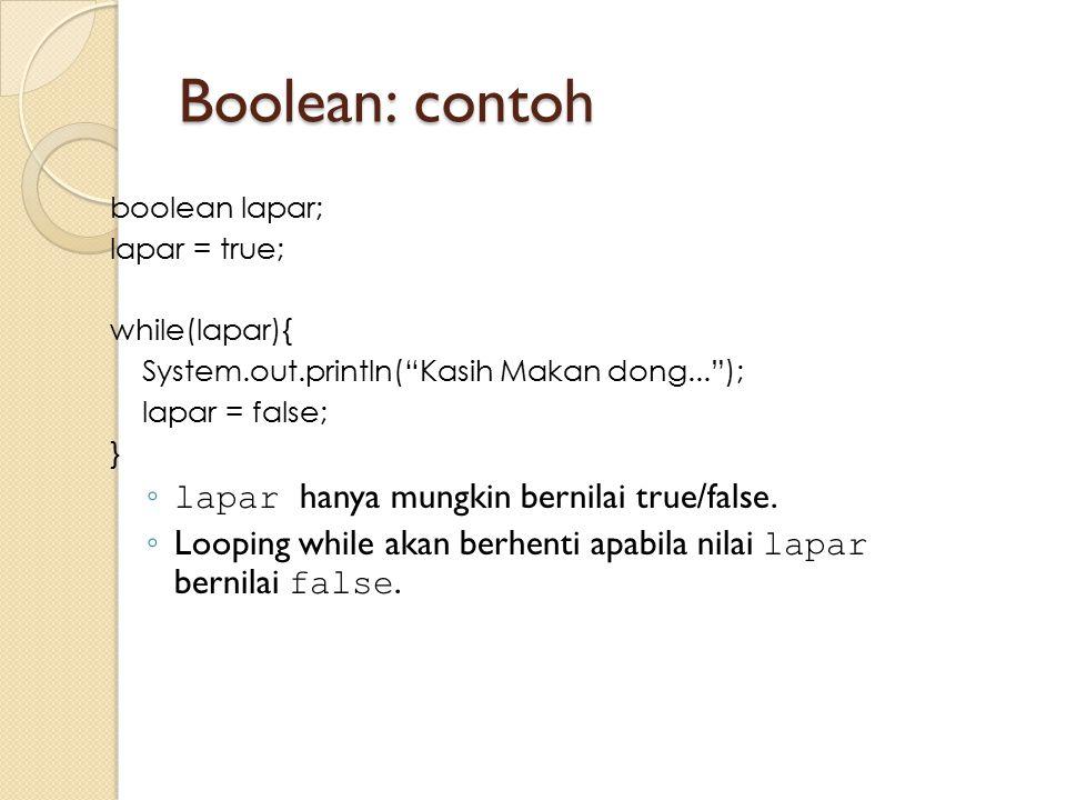 Boolean: contoh lapar hanya mungkin bernilai true/false.