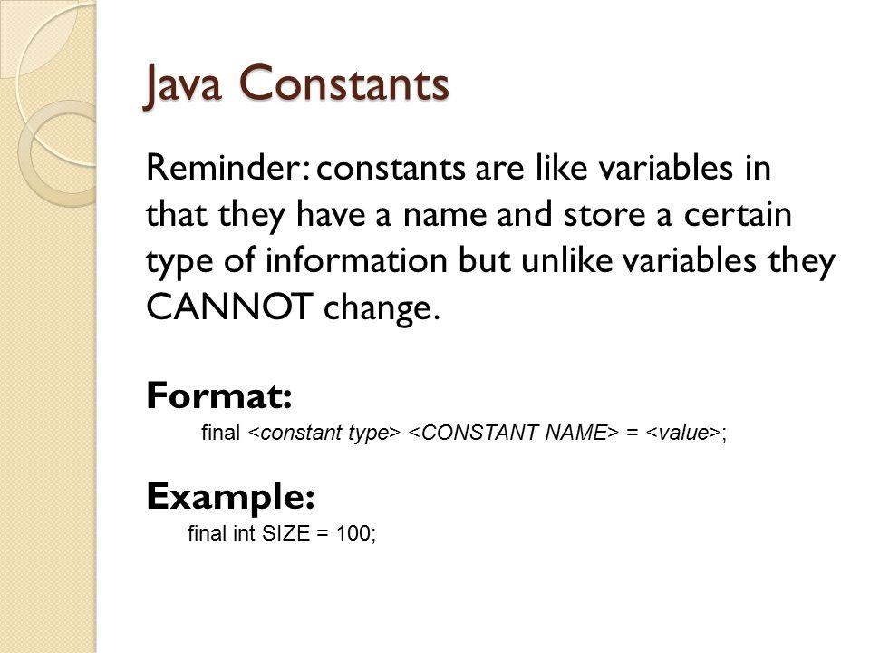 Java Constants