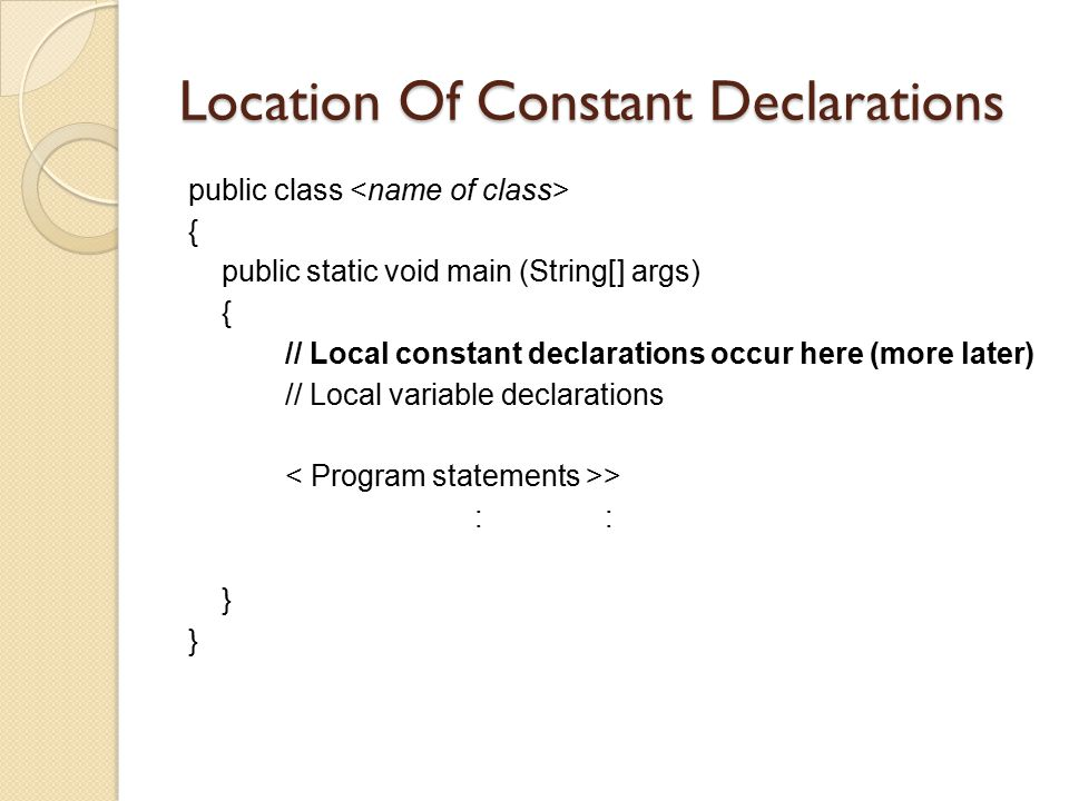 Location Of Constant Declarations