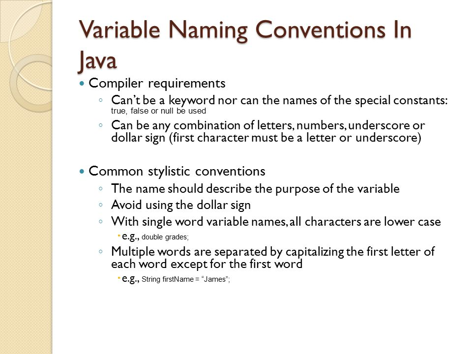 Variable Naming Conventions In Java