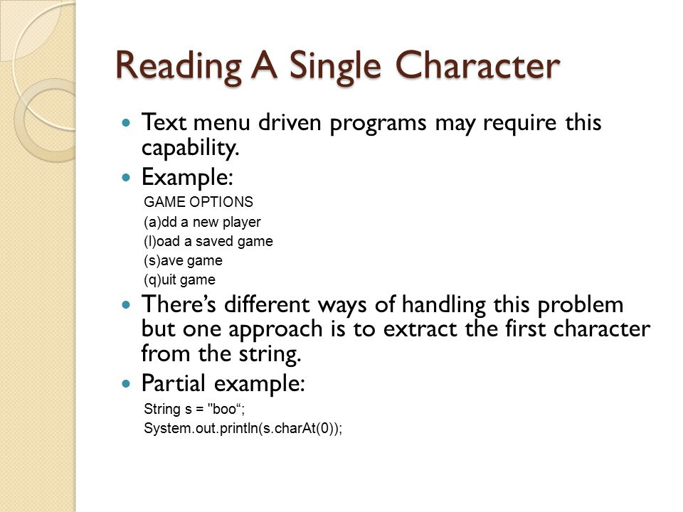 Reading A Single Character