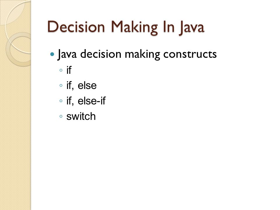 Decision Making In Java