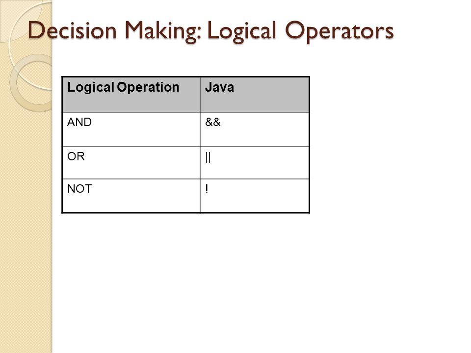 Decision Making: Logical Operators