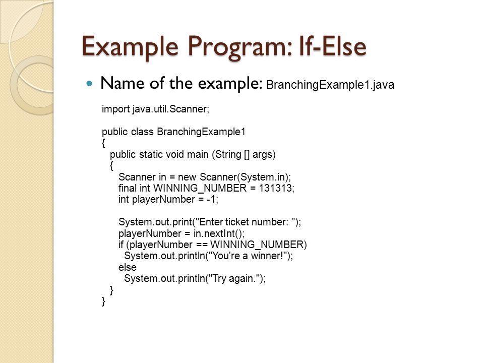 Example Program: If-Else