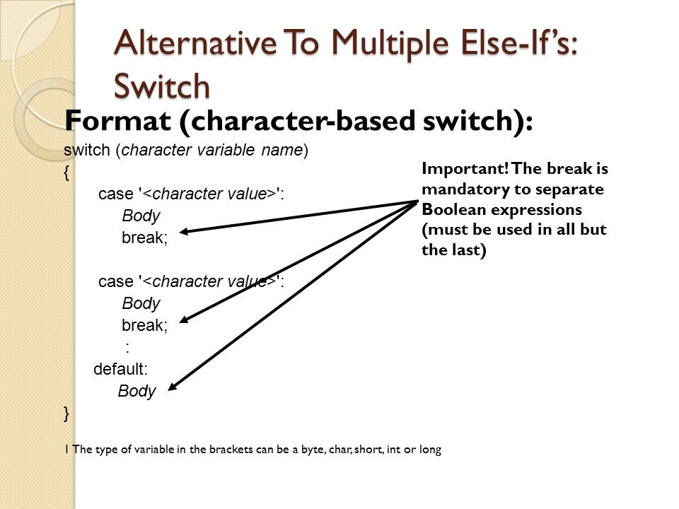 Alternative To Multiple Else-If's: Switch