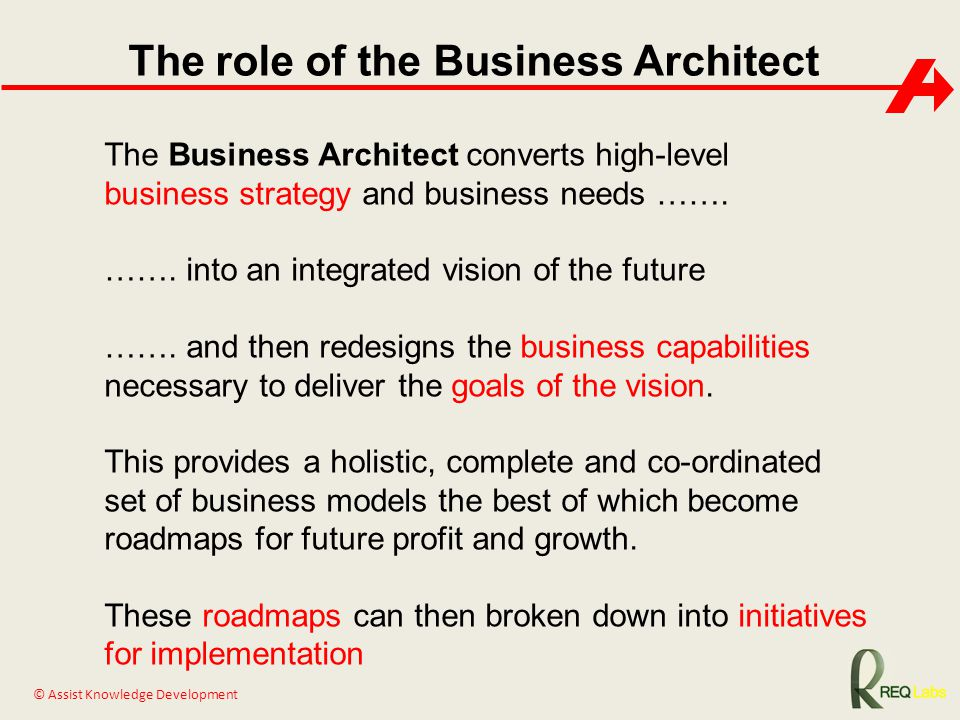 The role of the Business Architect
