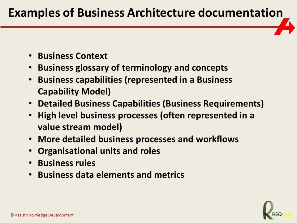 Examples of Business Architecture documentation