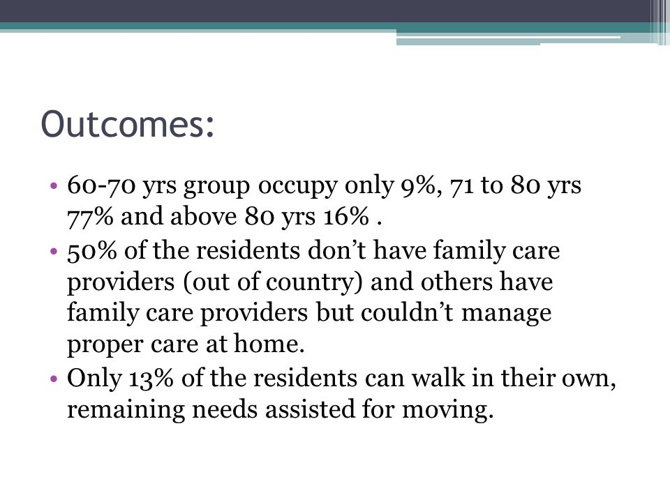 Outcomes: 60-70 yrs group occupy only 9%, 71 to 80 yrs 77% and above 80 yrs 16% .