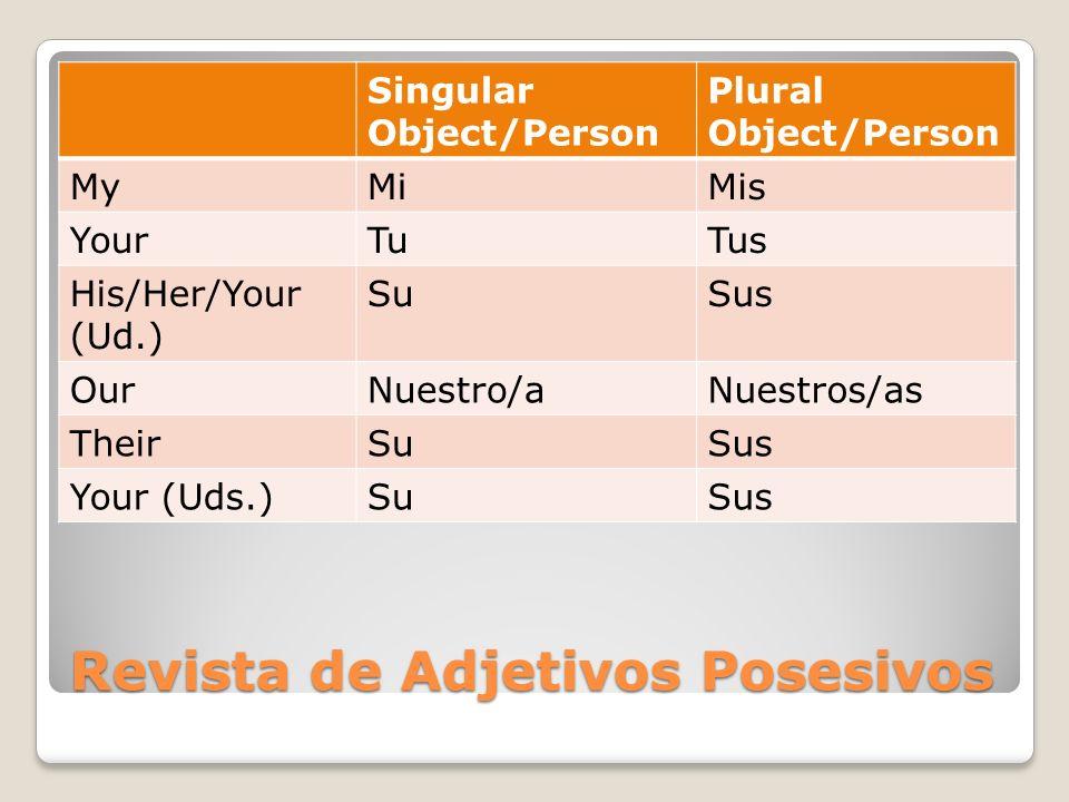 Revista de Adjetivos Posesivos
