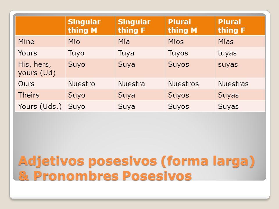 Adjetivos posesivos (forma larga) & Pronombres Posesivos