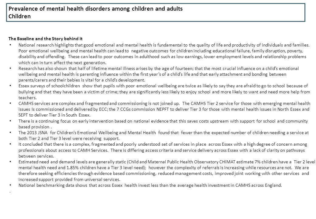 Prevalence of mental health disorders among children and adults