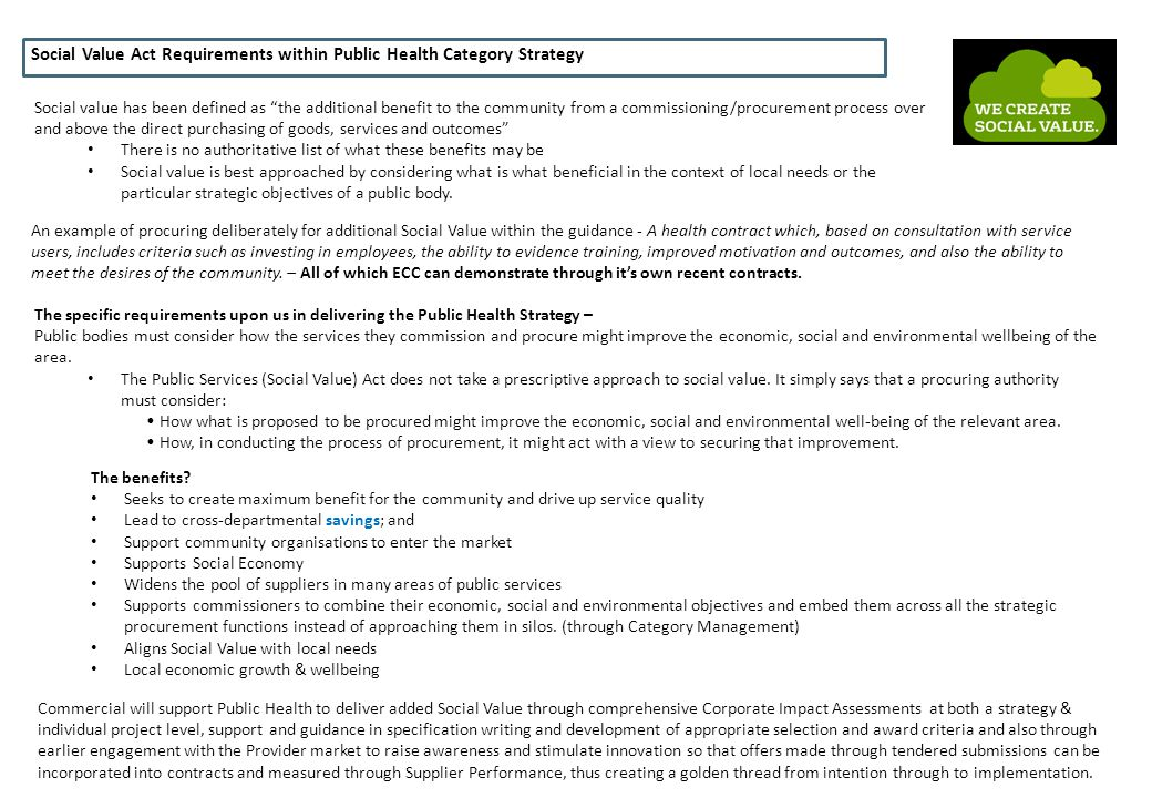 Social Value Act Requirements within Public Health Category Strategy