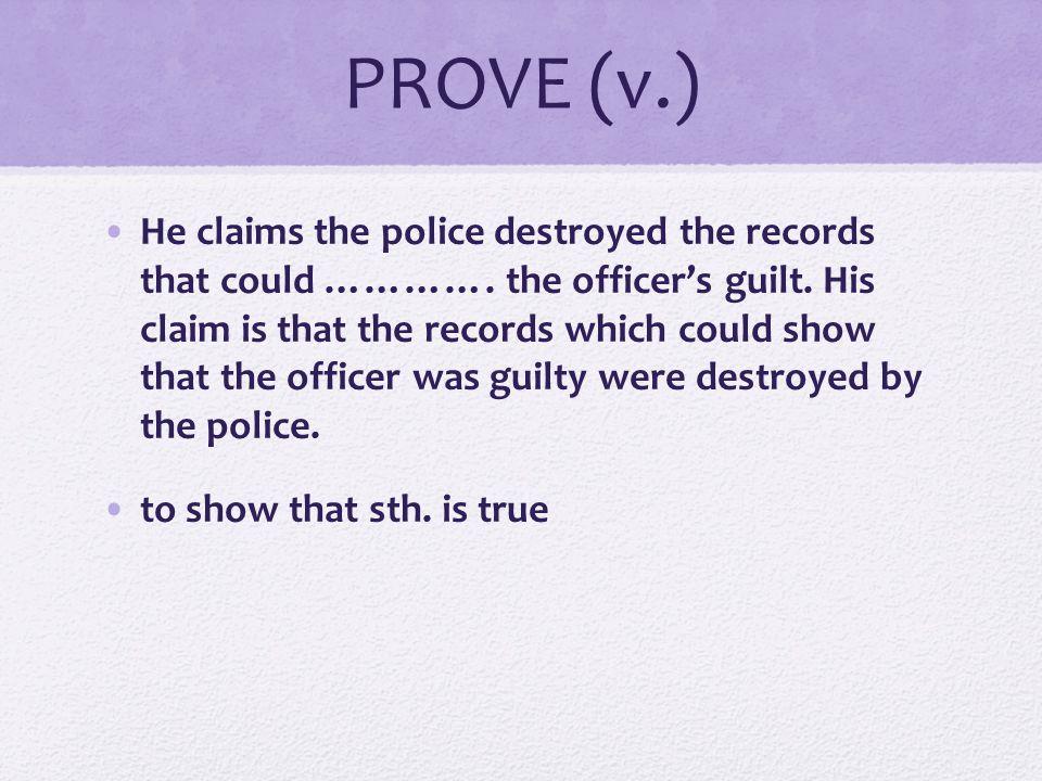 PROVE (v.)