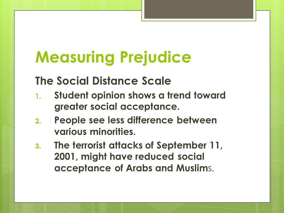 Measuring Prejudice The Social Distance Scale