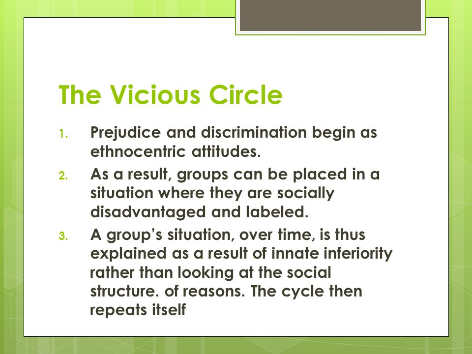 The Vicious Circle Prejudice and discrimination begin as ethnocentric attitudes.