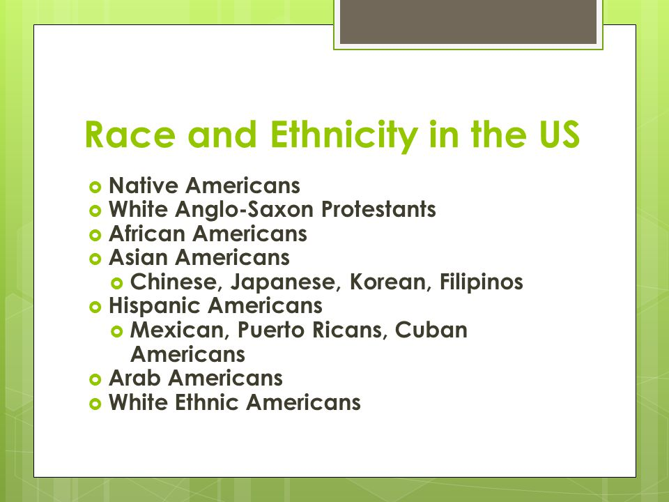 Race and Ethnicity in the US