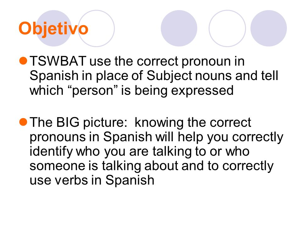 Objetivo TSWBAT use the correct pronoun in Spanish in place of Subject nouns and tell which person is being expressed.