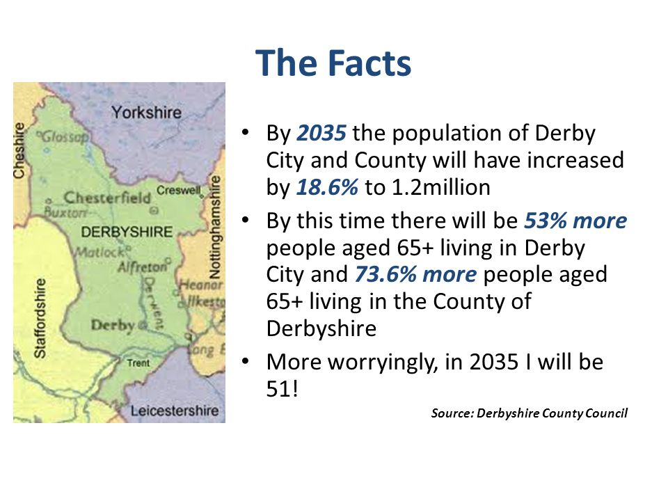 The Facts By 2035 the population of Derby City and County will have increased by 18.6% to 1.2million.