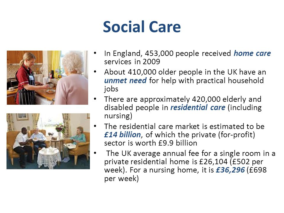 Social Care In England, 453,000 people received home care services in 2009.