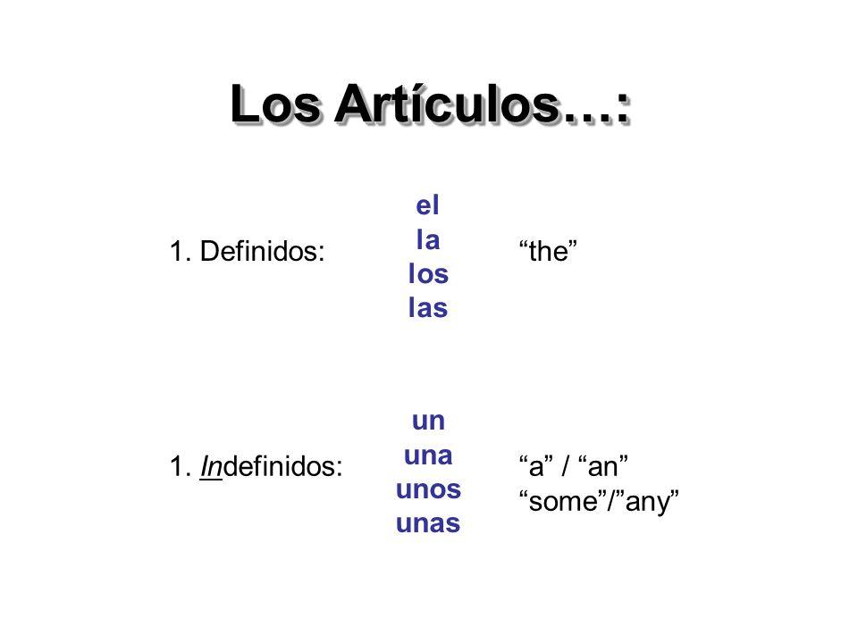 Los Artículos…: el la los las 1. Definidos: the un una unos unas