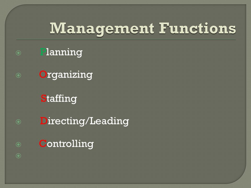 Management Functions Planning Organizing Directing/Leading Controlling