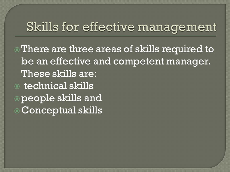 Skills for effective management