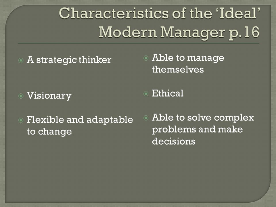 Characteristics of the 'Ideal' Modern Manager p.16