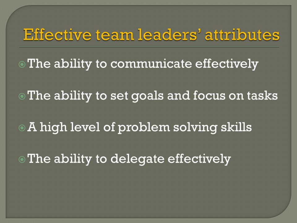Effective team leaders' attributes