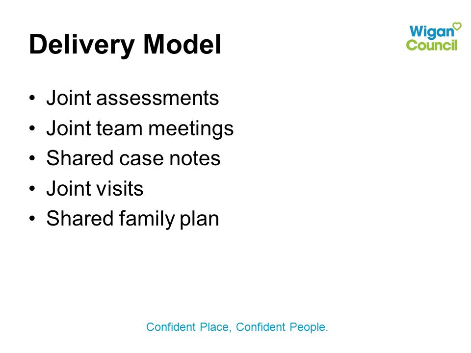 Delivery Model Joint assessments Joint team meetings Shared case notes