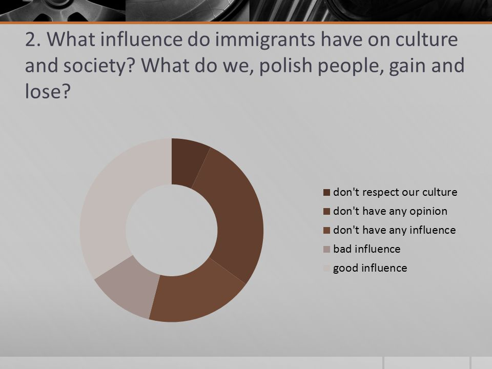 2. What influence do immigrants have on culture and society