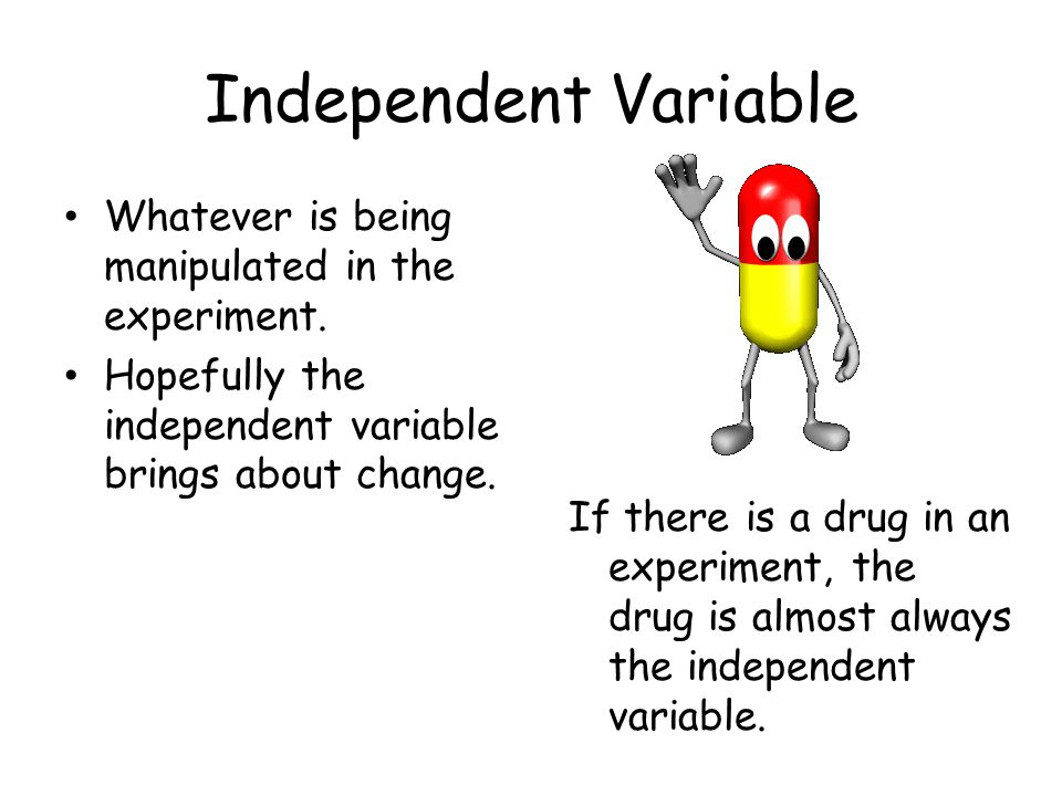 Independent Variable Whatever is being manipulated in the experiment.