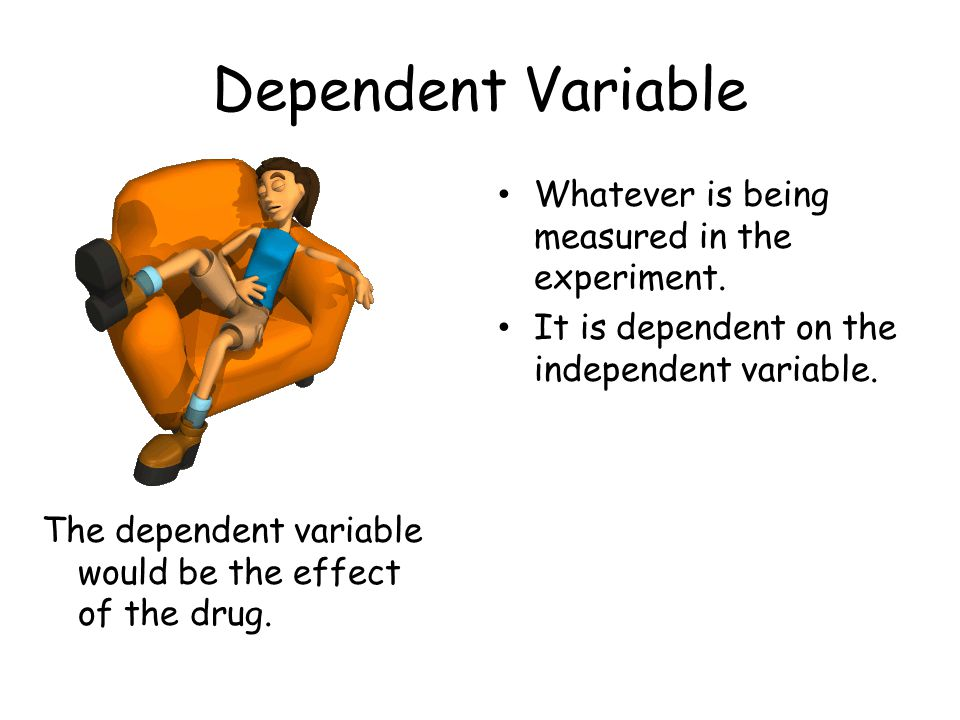 Dependent Variable Whatever is being measured in the experiment.