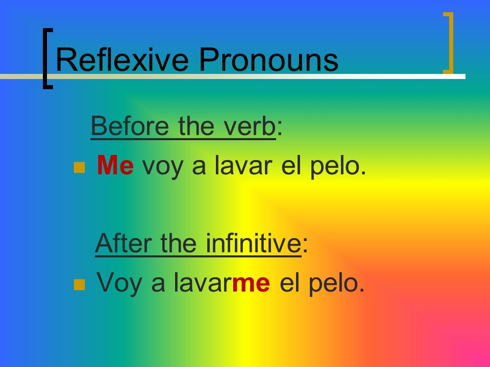 Reflexive Pronouns Me voy a lavar el pelo. After the infinitive: