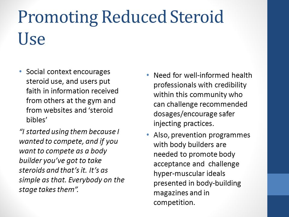 Promoting Reduced Steroid Use