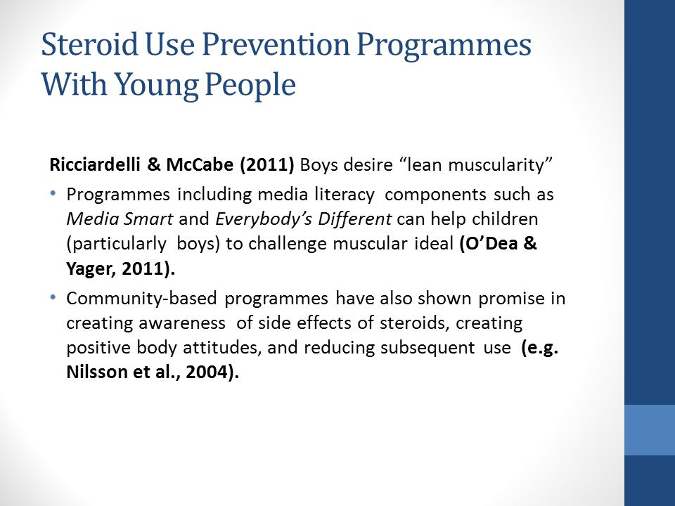 Steroid Use Prevention Programmes With Young People