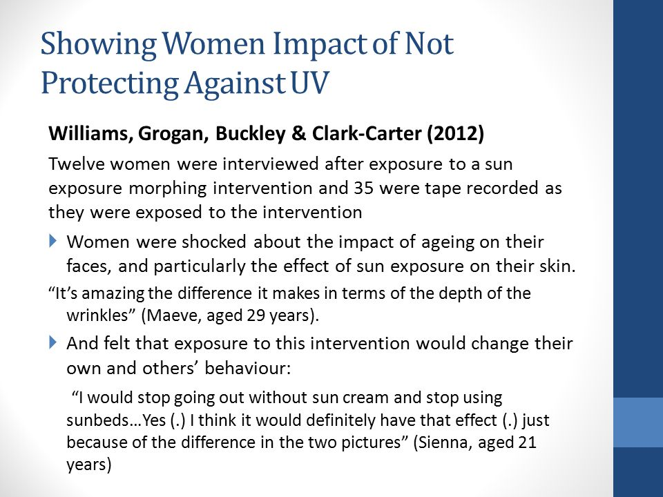 Showing Women Impact of Not Protecting Against UV