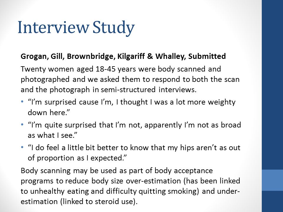 Interview Study Grogan, Gill, Brownbridge, Kilgariff & Whalley, Submitted.