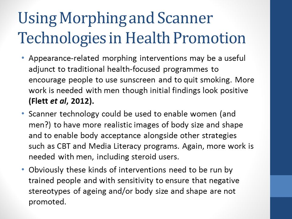 Using Morphing and Scanner Technologies in Health Promotion